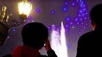 Swarm of drones lights up Vegas night sky
