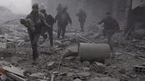 बमबारी से तबाह होता सीरिया का गूटा शहर