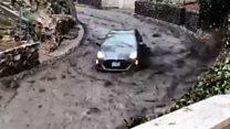The terrifying moment the mudslide hit