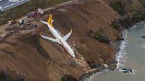 بالفيديو: طائرة تخرج عن مدرج بتركيا
