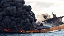 Oil tanker still burning as it sank