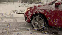 Drivers battle snow in Newtownabbey