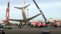 Plane that skidded off runway recovered