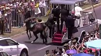 Popemobile causes horse to throw rider