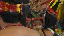 Indigenous Amazon people greet Pope