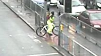 CCTV footage shows driver mounting kerb