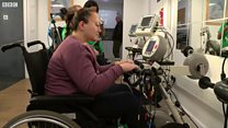 Disabled athlete sets up pop-up gym