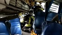 Wounded cut free from derailed Italy train