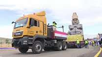 Ancient Egyptian King statue is moved
