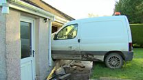 Elderly woman escapes van's kitchen crash
