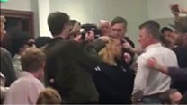 Protesters disrupt Jacob Rees-Mogg speech
