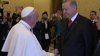 Türkiyə prezidenti Recep Tayyip Erdoğan Vatikana səfərində Papa ilə görüşüb