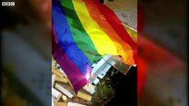White supremacist burned rainbow flag