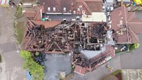 Drone captures damage to fire-hit hotel