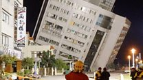 Rescue at Taiwan quake-hit tilted building