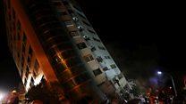 台灣花蓮地震現場:民眾從倒塌建築內逃出