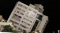 Moradores são resgatados de prédio que tombou após terremoto em Taiwan