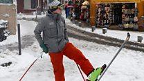 Parisians ski down Montmartre slopes