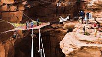 Couple weds 400ft above Utah canyon