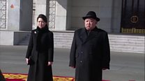 Kim Jong-un and wife attend military parade
