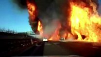Flames engulf highway in China