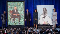 'Wow': Obamas react to official portraits