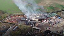 Aerial footage shows depot blaze