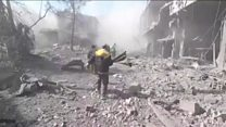 Aftermath of strikes on Syrian rebel area
