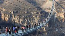 Wobbling over the world's longest glass bridge
