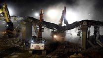 Time-lapse shows A1 bridge demolition