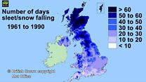 Annual average snowfall in UK