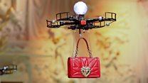 Handbag drones light up Milan catwalk
