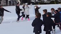 Primary school pupils take on teachers in snowball fight