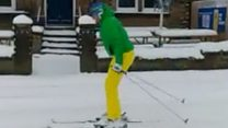 Skiing in the streets of West Yorkshire