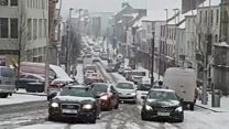 Traffic struggles through snow in Omagh