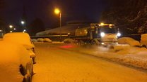 Snowplow battles on to clear Glasgow streets