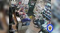 Shopkeeper takes on clown mask knifeman