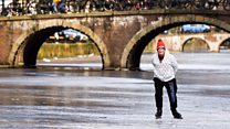 Ice skating fun on Dutch canals