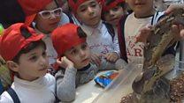 أطفال في بغداد وتجربة مختلفة مع حيوانات برية