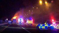 Washing machine fire closes motorway