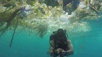 El buzo que nadaba entre plásticos en las aguas paradisíaca de Bali