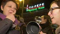 स्पेन में औरतों ने किया काम बंद