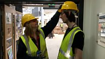 The mum and son learning construction together