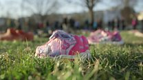 Shoes mark young victims of gun violence
