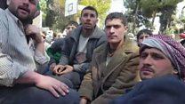 Ghouta evacuees wait in Damascus