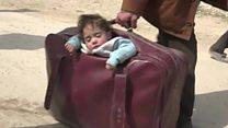 सीरिया संकट : पूर्वी गूटा से भागे लोग