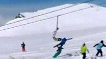 Skiers jump from speeding lift