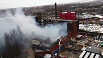 Drone footage shows extent of mill fire