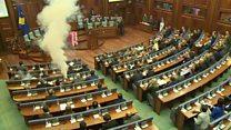 Tear gas set off in Kosovo parliament