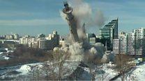 لحظة تدمير أقدم برج مهجور في العالم